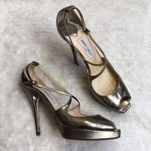 Jimmy Choo Peep Toe Platform Heels Gold Size 12